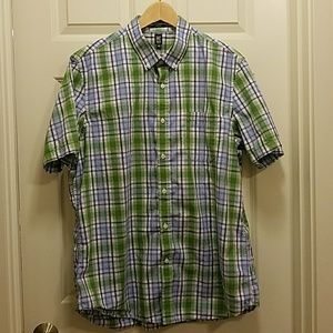 🛍14th & Union green/blue plaid casual button-down